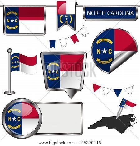 Glossy Icons With Flag Of North Carolina