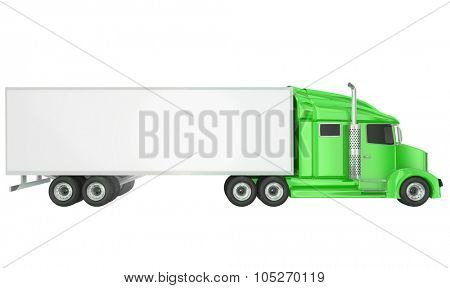 Green cab on isolated 18 wheeler big rig Class 8 truck with blank copy space on trailer for your text or message