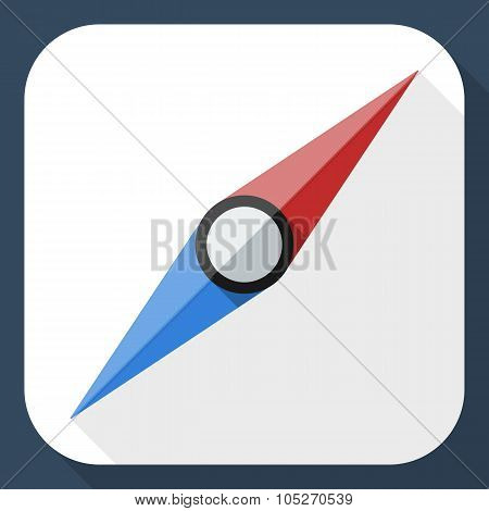 Compass Needle Icon With Long Shadow