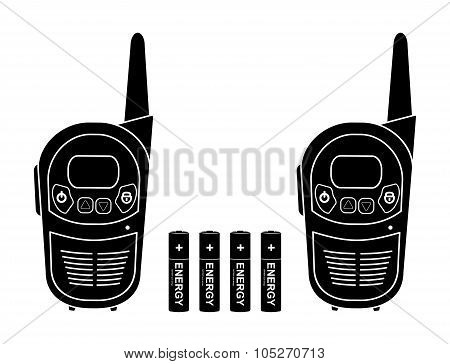Portable vector radio set. Black silhouette