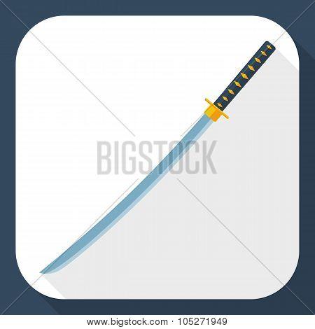 Katana Sword Icon With Long Shadow