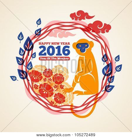 Lunar New Year Greeting Card with Monkey.