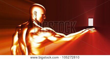 Smart Phone Man Displaying New Handphone Model