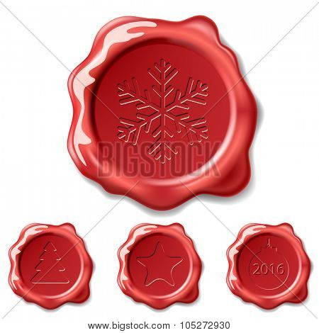 Christmas Seal Wax Isolated on white background. Illustration Set Vector Eps10.