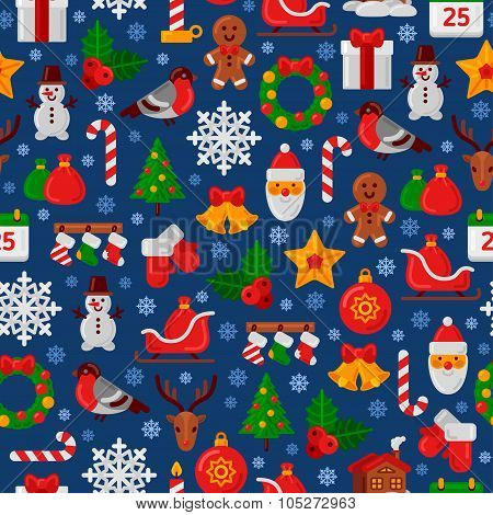 Seamless Pattern with Christmas Flat Icons.
