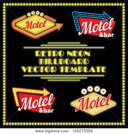 Retro Neon Motel Billboard Vector Template