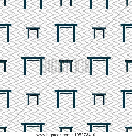Stool Seat Icon Sign. Seamless Abstract Background With Geometric Shapes.
