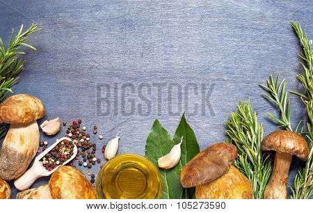 Fresh Mushrooms Boletus With Condiment And Rosemary