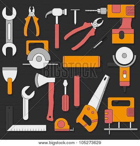 Set Of Hand Tools In A Flat Style