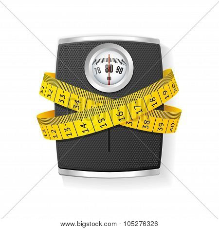 Bathroom Scale Concept of Health Care. Vector