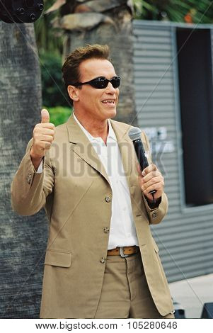 CANNES, FRANCE - MAY 17: Arnold Schwarzenegger participates in the launching of his next movie, 'Terminator 3' at the Carlton Hotel during the 56 Cannes Film Festival May 17, 2003 in Cannes, France