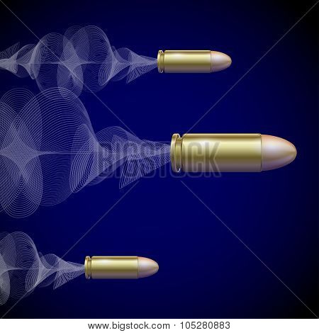 Fly Pistol Bullet Background Concept. Vector