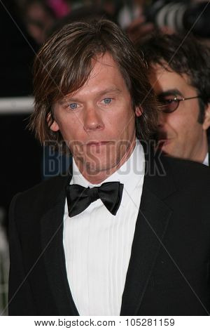 CANNES, FRANCE - MAY 13: Actor Kevin Bacon departs the screening of 'Where the Truth Lies' at the Grand Theatre during the 58th International Cannes Film Festival May 13, 2005 in Cannes, France.