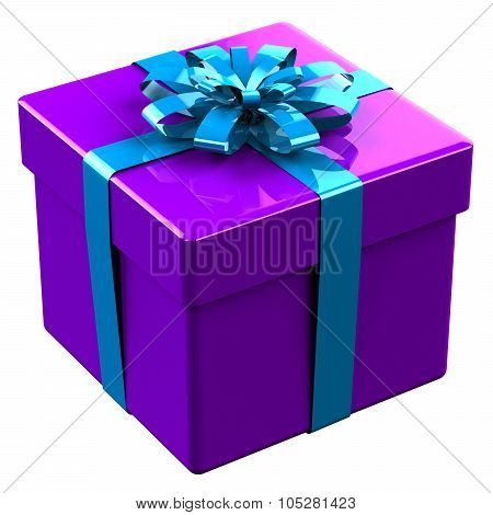 Purple Gift Box Tied Blue Ribbon With A Bow