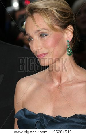 CANNES, FRANCE - MAY 14: Actress Kristin Scott Thomas attends the preview of 'Cache' at the Grand Theatre Lumiere on May 14, 2005 in Cannes, France