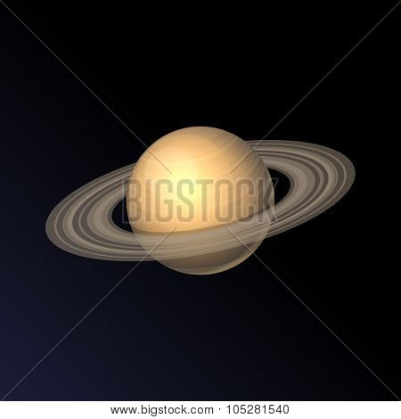 Saturn Planet Icon Isolated on Dark Background. Vector