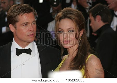 CANNES, FRANCE - MAY 24: Brad Pitt  and Angelina Jolie attend the premiere for the film 'Ocean's Thirteen' at the Palais  during the 60th  Cannes Film Festival on May 24, 2007 in Cannes, France
