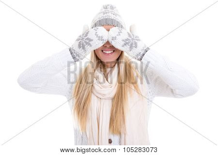 Pretty Young Woman In Winter Clothes Hiding Her Face