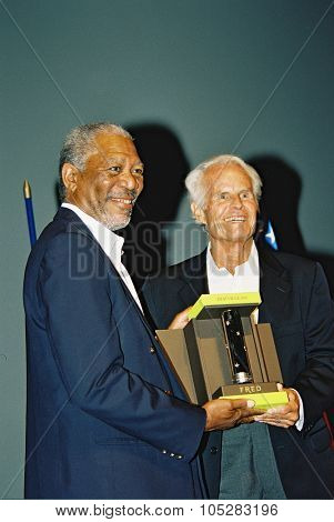 DEAUVILLE, FRANCE - SEPTEMBER 7: Morgan Freeman and Jack Valenti   attends the screening for The Sugarland Express at the 30th Deauville  Film Festival on September 7, 2004 in Deauville, France.