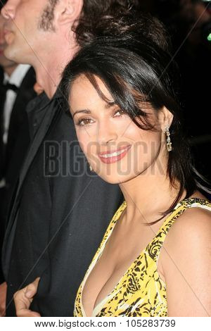 CANNES, FRANCE - MAY 17: Mexican actress and juror Salma Hayek attends the screening of 'Broken Flowers' at the Grand Theatre during the 58th Cannes Film Festival May 17, 2005 in Cannes, France