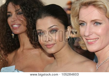 CANNES, FRANCE - MAY 18: Aishwarya Rai , Afef Jnifen  and model Maria Furtwaengler attend the Indiana Jones   premiere at the Palais  during the 61 Cannes  Festival on May 18, 2008 in Cannes, France