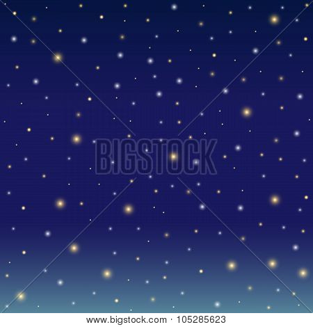 Background Simulating The Winter Night Sky With Snow. Vector Illustration