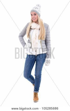 Full Length Portrait Of Beautiful Woman In Winter Clothes Isolated On White