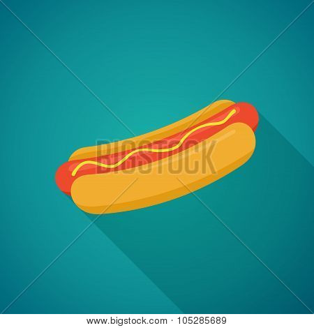 Hot Dog with shadow in flat style. Vector