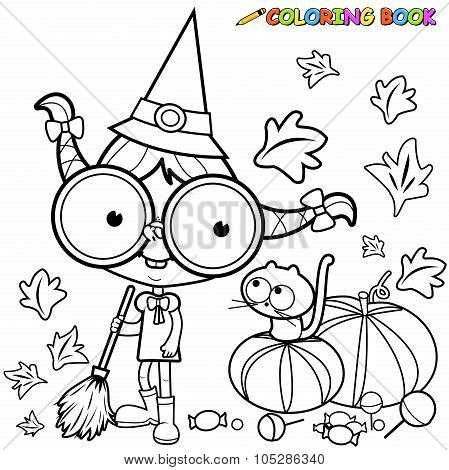 Coloring page Halloween witch sweeping pumpkin leaves