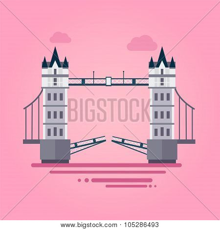 London Tower Bridge in Flat Style Vector Illustration