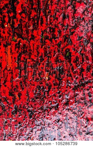 Red Color Abstract Wood And Rain Water