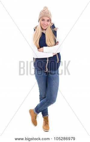 Full Length Portrait Of Beautiful Blond Woman In Warm Clothes Posing Isolated On White