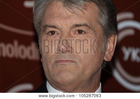 KIEV, UKRAINE - September  23: Viktor Yushchenko arrives at the opening , at the Opera Theatre  40th  Film Festival