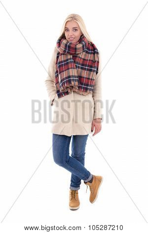 Full Length Portrait Of Young Blond Woman In Warm Clothes Isolated On White