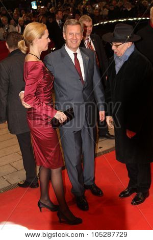 BERLIN, GERMANY - FEBRUARY 13: German President Christian Wulff and his wife Bettina  attend the 'Pina' Premiere during  of the 61 Berlin Film Festival at  Palace on February 13, 2011 in Berlin, Germany.