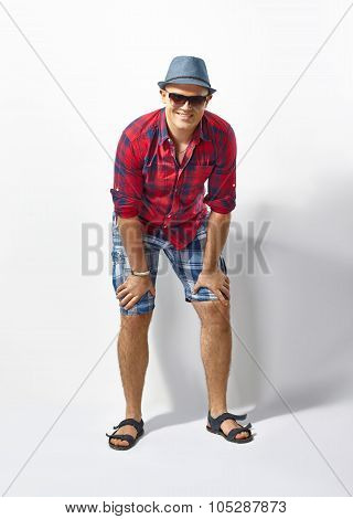 Young Casual Man In Hat And Sunglasses