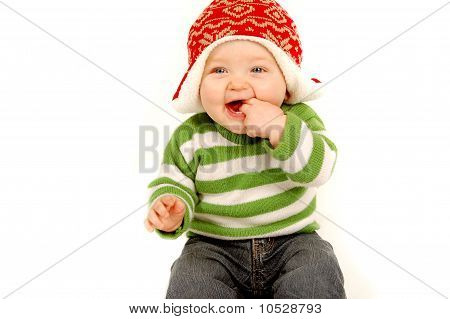 Cute Baby in Christmas Clothes