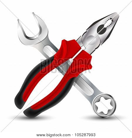Pliers And Wrench Icon. Vector Illustration