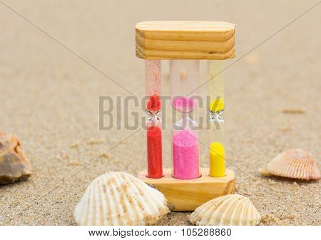 Hourglass On The Sand Beach