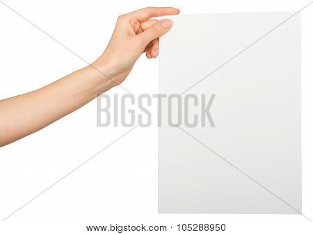Womans left hand holding blank paper