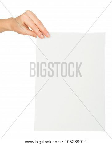 Humans left hand holding empty card
