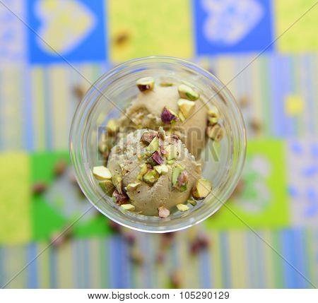 Pistacio icecream in glass