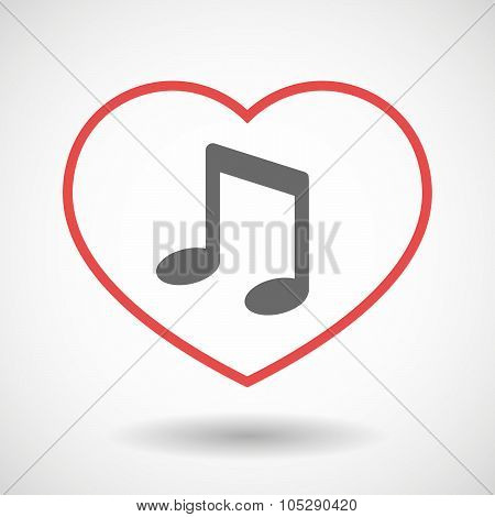 Line Heart Icon With A Note Music