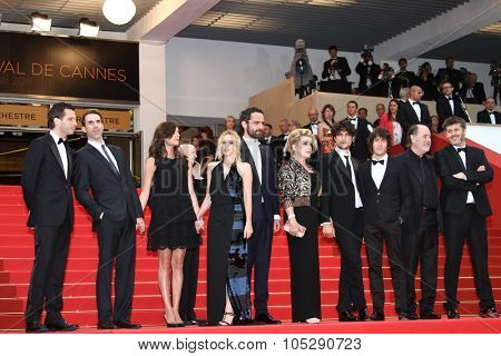CANNES, FRANCE - MAY 22: Catherine Deneuve (middle) attends the 'Les Bien-Aimes' premiere at the Palais des Festivals during the 64th Cannes  Festival at Palais des Festivals on May 22, 2011 in Cannes, France.