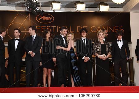 CANNES, FRANCE - MAY 22: Catherine Deneuve (second from R) attends the 'Les Bien-Aimes' premiere at the Palais des Festivals during the 64th Cannes Festival at Palais des Festivals on May 22, 2011 in Cannes, France.