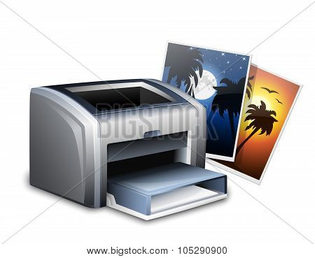Color Laser Printer And Photos. Vector Illustration