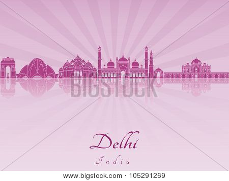 Delhi Skyline In Purple Radiant Orchid