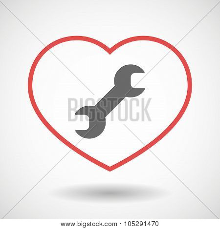 Line Heart Icon With A Wrench