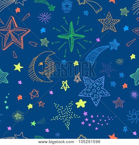 Seamless pattern with night sky and colorful hand drawn doodle stars. Vector background.