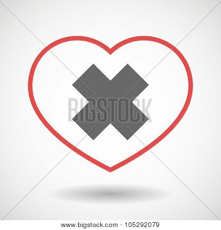 Line Heart Icon With An Irritating Substance Sign